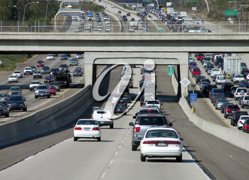Royalty Free Photo of Heavy Traffic on a Freeway