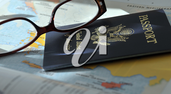 Royalty Free Photo of a Pair of Glasses and Passport