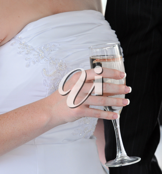Royalty Free Photo of a Bride With Champagne