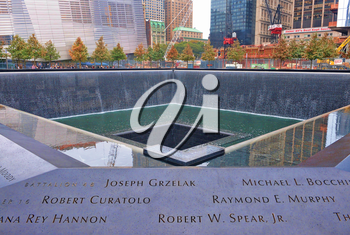 Royalty Free Photo of the 9-11 Memorial Fountains in Manhattan, New York
