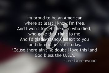 Royalty Free Photo of a Verse on an American Flag