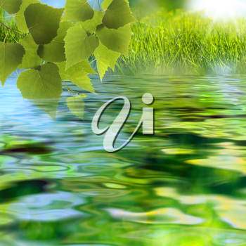 On the lake. Abstract summer backgrounds