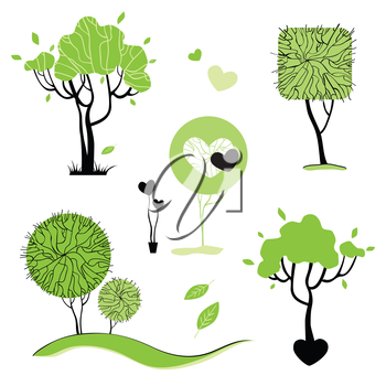 Royalty Free Clipart Image of a Collection of Abstract Trees