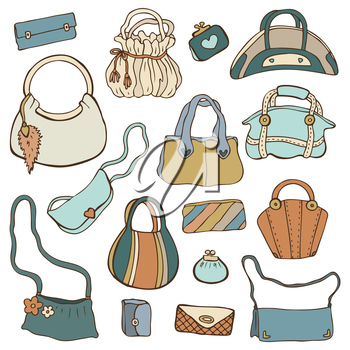 Royalty Free Clipart Image of a Collection of Purses