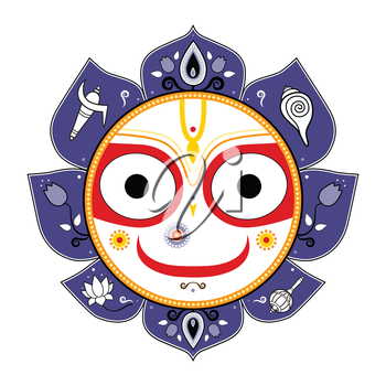 Royalty Free Clipart Image of Jagannath, Indian God of the Universe