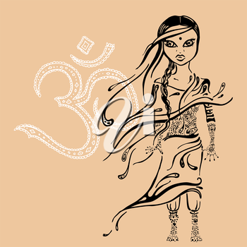 Royalty Free Clipart Image of an Indian Girl