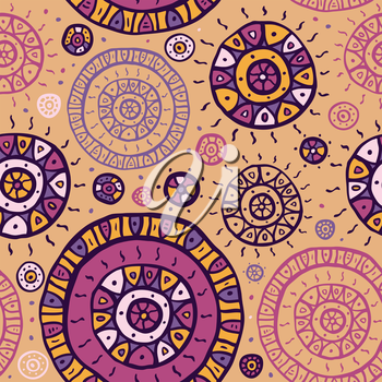 Stylized hand drawn seamless pattern. Vector background.