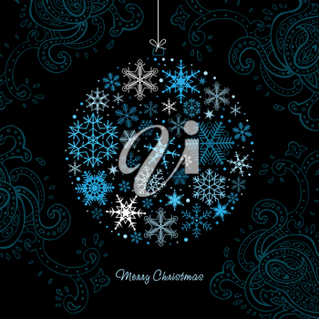 Christmas ball  of the Snowflakes. Vector background.
