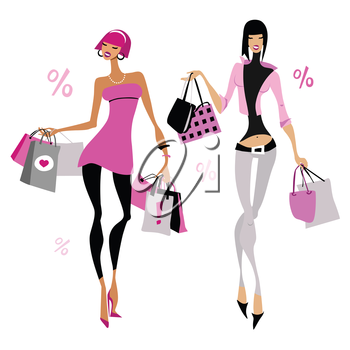 Women with shopping bags. Vector illustration. Isolated