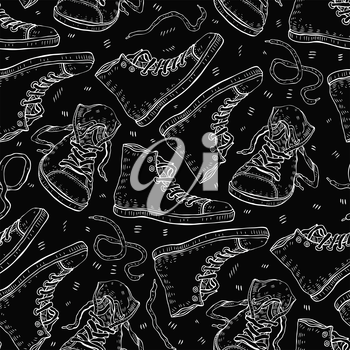 Sport shoes. Sneakers. Hand drawn Seamless Vector background.