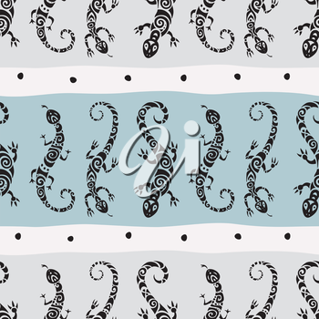 Lizards. Seamless Abstract background. Ethnic Vector pattern.