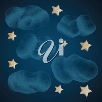 Stars with Clouds. Night Sky Halftone style. Vintage Hand drawn Vector Illustration.