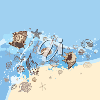 Sea shell with sea background. Hand Drawn Postcard Design for Your Text. Wave of blue ocean on sandy beach, sea shells.