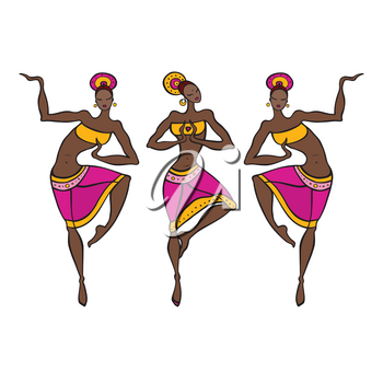 Beautiful Indian dancers. Ethnic dance. Dancing silhouettes Vector illustration