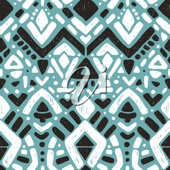 Ikat ornament. Tribal pattern in Aztec style. Hand Drawn folklore seamless pattern