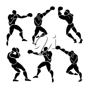 Silhouette of professional boxer. Boxing match. vector illustration on white background