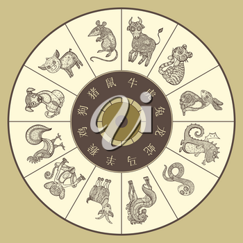 Chinese zodiac wheel with twelve. Vector hand drawn cartoon animals