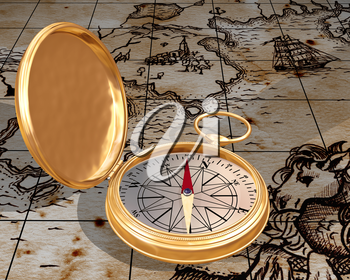 Royalty Free Clipart Image of a Compass and a Map