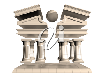 Isolated illustration of a deconstructed Greek Temple