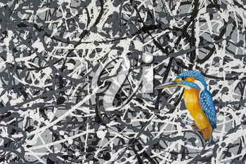 Oil painting of a vibrant kingfisher bird in an abstract background