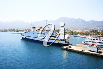 Royalty Free Photo of a Ferry Boat in the Kyrenia Port