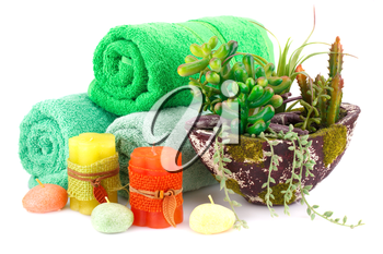 Spa set with towels, candles and plant in vase isolated on white background.