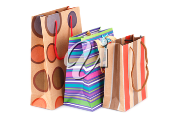 Colorful shopping bags isolated on white background.