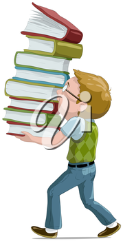 Royalty Free Clipart Image of a Boy Carrying Books