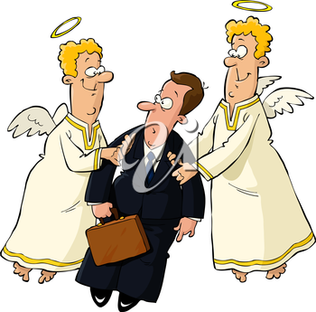 Royalty Free Clipart Image of a Angels and a Man