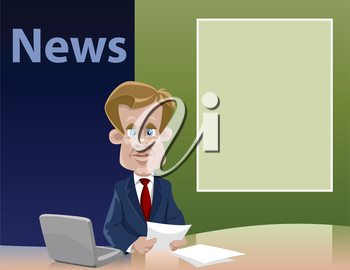 Royalty Free Clipart Image of a Newscaster