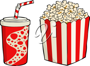 Royalty Free Clipart Image of Popcorn and Soda