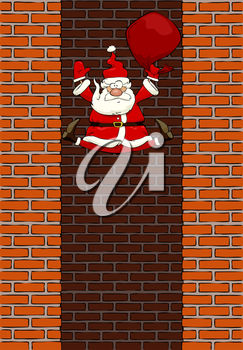 Royalty Free Clipart Image of Santa Falling Down a Chimney