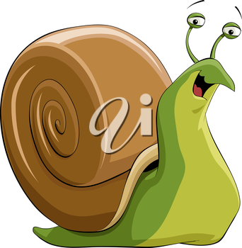 Illustration of a happy green snail vector