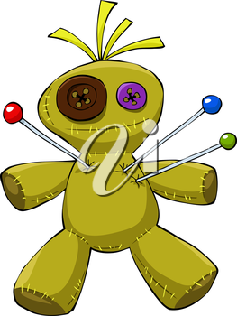 Voodoo doll on a white background, vector
