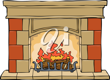 Fireplace on a white background vector illustration