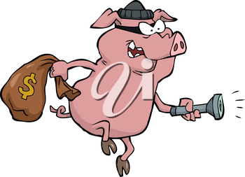 Pig robber with a sack of money vector illustration