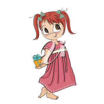 Royalty Free Clipart Image of a Little Girl With a Gift