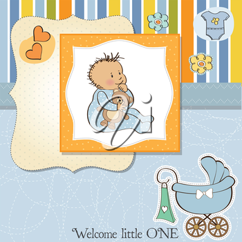 Royalty Free Clipart Image of a Birth Announcement With a Baby Boy and a Carriage in the Corner