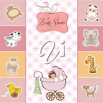 Royalty Free Clipart Image of a Baby Shower Invitation With a Girl in a Buggy