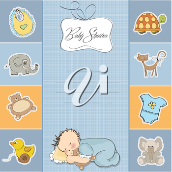 Royalty Free Clipart Image of a Shower Invitation for a Baby Boy