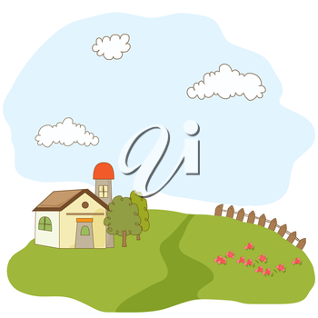 Royalty Free Clipart Image of a Summer Country Landscape
