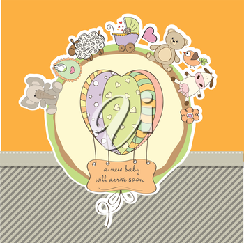 Royalty Free Clipart Image of a Baby Shower Card With a Balloon and Animals