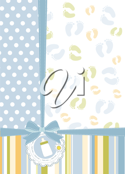 Royalty Free Clipart Image of a Background With a Baby Bottle in a Lace Wreath