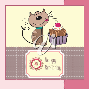 Royalty Free Clipart Image of a Birthday Card With a Cat