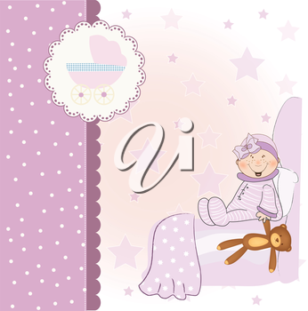 Royalty Free Clipart Image of a Baby Girl on a Pink Background With a Buggy