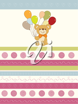 Royalty Free Clipart Image of a Background With a Bear Holding Balloons