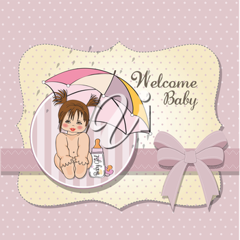 Royalty Free Clipart Image of a Baby Shower Invitation With Welcome Baby on It