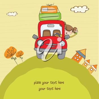 Royalty Free Clipart Image of a Woman Travelling By Car