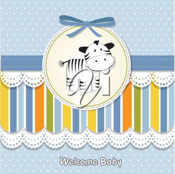Royalty Free Clipart Image of a Baby Card With a Zebra