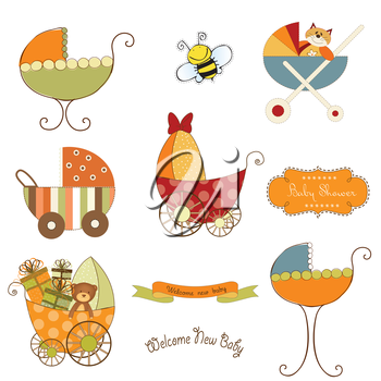 Royalty Free Clipart Image of Baby Buggies